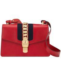 fd0dfcbd386943 Gucci Sylvie Leather Mini Chain Bag in White - Lyst