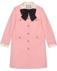 Gucci - Cappotto in lana con fiocco - Lyst