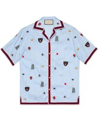 Gucci - Embroidered Cotton Bowling Shirt - Lyst