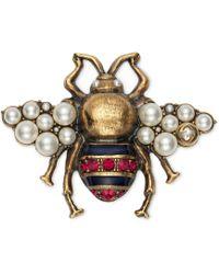 Gucci - Broche abeille avec cristaux et perles - Lyst