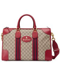 Gucci   Soft Gg Supreme Duffle Bag With Web   Lyst