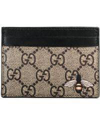 Gucci - Bee Print Gg Supreme Card Case - Lyst