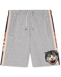 Gucci - Stripe Cotton Shorts - Lyst