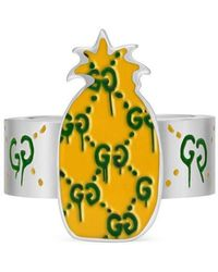 Gucci - Ghost Pineapple Ring In Silver And Enamel - Lyst
