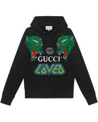 Gucci - Felpa in cotone con tigri - Lyst