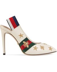 Gucci - Embroidered Leather Web Slingback Pump - Lyst