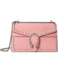 47db02b7d69 Gucci - Dionysus Suede Shoulder Bag With Crystals - Lyst