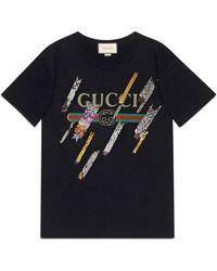 Gucci - T-shirt oversize con logo e stelle cadenti - Lyst