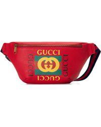 Gucci Gürteltasche aus Leder mit Print - Rot
