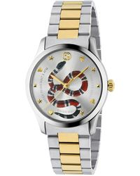 337a0c0b949 Lyst - Gucci G-timeless Leather Rectangle Watch in Metallic for Men