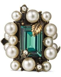 Gucci - Ring With Crystal And Pearls - Lyst