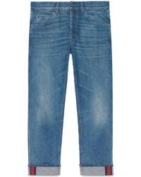 Gucci - Jean fuselé bleu avec détail ruban Web - Lyst