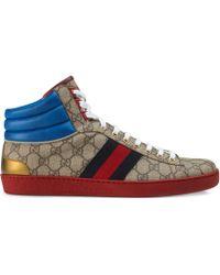 Gucci - Baskets montantes Ace en toile Suprême GG - Lyst