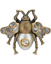 Gucci - Bee Ring With Crystals And Pearl - Lyst