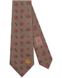 Gucci - Cravate en soie à motif roses - Lyst