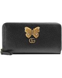 Gucci - Leather Zip Around Wallet With Bow - Lyst