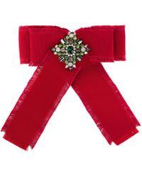 Gucci - Red Grosgrain Bow Brooch - Lyst