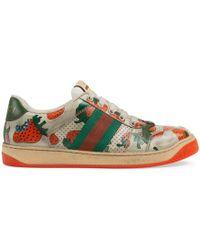bd72778ca41 Gucci - Women s Screener Strawberry Sneaker - Lyst