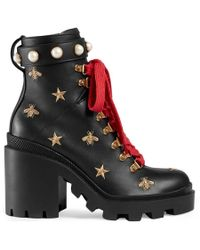 Gucci - Leather Embroidered Ankle Boot - Lyst