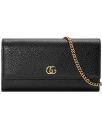 6f6a8231a9d Gucci - Portefeuille GG Marmont en cuir avec chaîne - Lyst