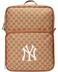 38dcb3d49b60 Gucci - Ny Yankees Logo-print Canvas Backpack - Lyst
