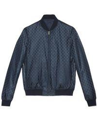 d1c905e6cae Gucci - Reversible GG Jacquard Nylon Bomber Jacket - Lyst