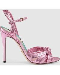 a59fdd8ea Gucci - Allie Knotted Metallic Leather Sandals - Lyst