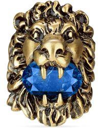 Gucci - Anello testa di leone con cristallo blu - Lyst