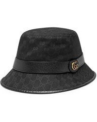 Gucci Sombrero tipo pescador lona GG con Doble G - Negro