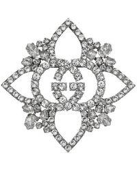 Gucci - Crystal Interlocking G Flower Brooch - Lyst