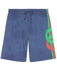 63ea22fb0a Gucci - Shorts With Interlocking G Print - Lyst
