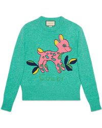Gucci - Wool Jumper With Fawn - Lyst