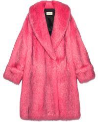 Gucci - Oversize Faux Fur Coat - Lyst