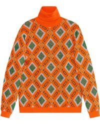 Gucci - Pull jacquard en laine et lurex - Lyst