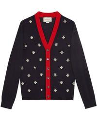 Gucci - Cardigan en laine avec abeilles et étoiles - Lyst