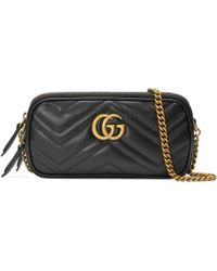 a3ee243aa1b1 Gucci Gg Marmont Mini Chain Bag in Black - Lyst