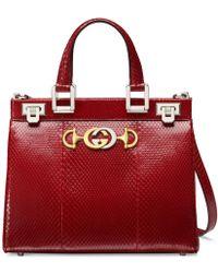 Gucci - Zumi Snakeskin Small Top Handle Bag - Lyst