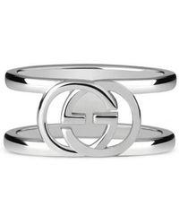 Gucci - Interlocking G Motif Wide Ring  - Lyst