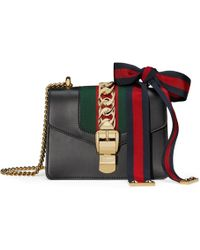 acde3309567d Gucci Dionysus Striped Leather Bag in Black - Lyst