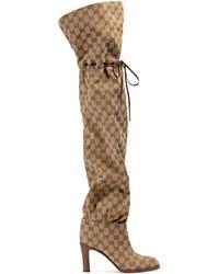 Gucci - Stivale sopra il ginocchio in tessuto Original GG - Lyst