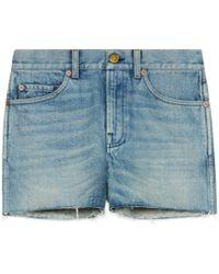 Gucci - Short en jean avec empiècements - Lyst