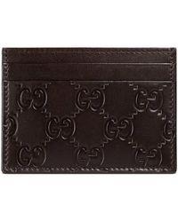 Gucci - Porte-cartes en cuir signature - Lyst