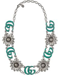 Gucci - Enamelled Double G Necklace - Lyst