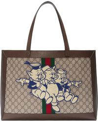 5d8bc4b9b9a11 Gucci - Ophidia GG Tote With Three Little Pigs - Lyst
