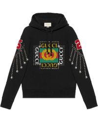 Gucci - Felpa con logo e cristalli - Lyst
