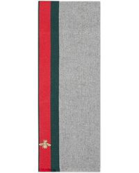Gucci - Wool Cashmere Scarf With Web - Lyst