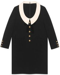 829107d1e Gucci Velvet Dress With Bow in Black - Lyst