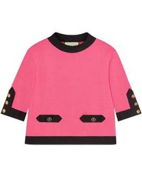 1e7c9013 Gucci Chiffon And Lace Shirt in Pink - Lyst