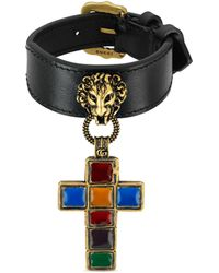 Gucci - Leather Bracelet With Cross Pendant - Lyst