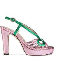 3db84f9a7aa Lyst - Gucci Ursula Ankle Strap High Heel Sandal in Red
